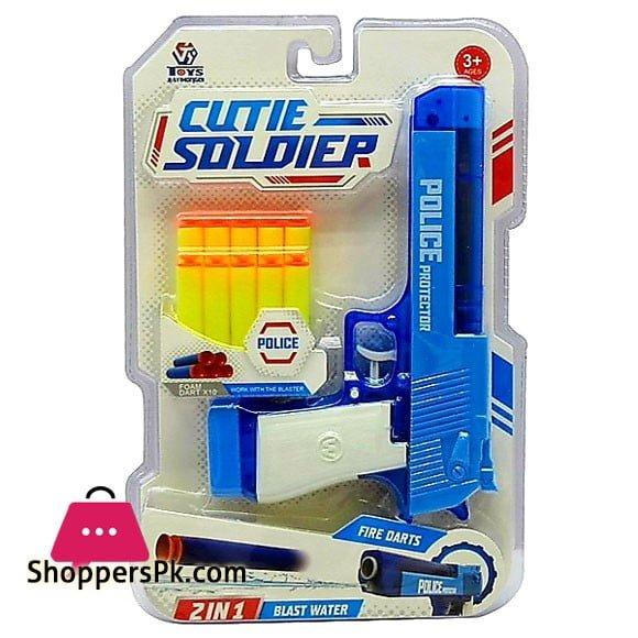 【Water & Darts】Cutie Soldier 2 IN 1 Dual Function Bullet and Water Blast Soft Shooting Police Protector Blaster Toy Super Shoot Series