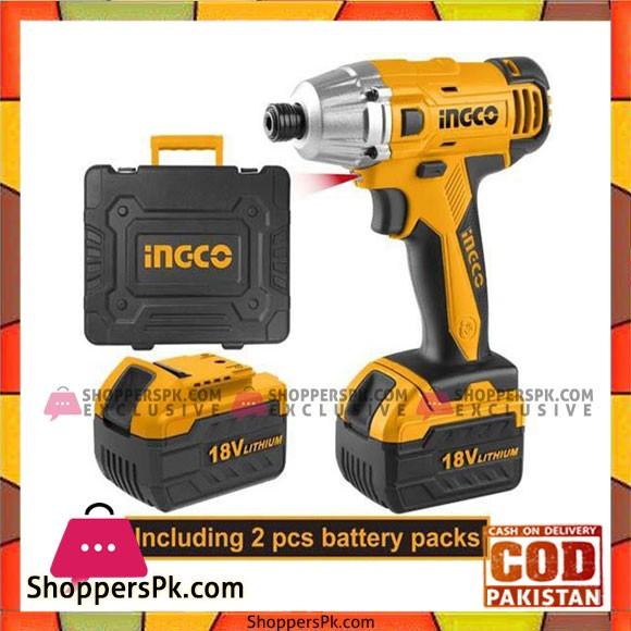 INGCO 18V Li-ion Impact Driver with 2pcs Battery Pack - CIDLI228181