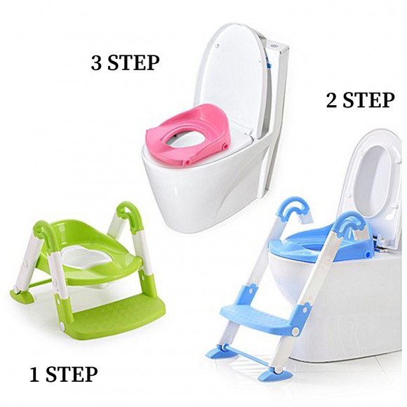 Baby Bucket A+B Toilet Potty Trainer Seat Chair Kids Toddler with Ladder Step Up Toilet Potty Training Stool