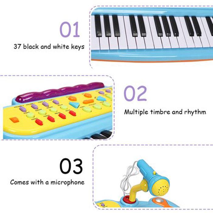 37 Key Kids Electronic Keyboard Mini Piano Microphone And Stool