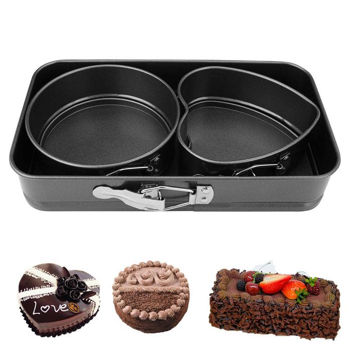3pcs Mini Cheesecake Pan Bakeware Nonstick Removable Bottom