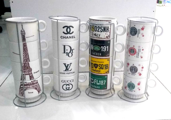 4 Pcs Coffee Cup Set Eiffel Tower Pattern Drinking Cups with Rack