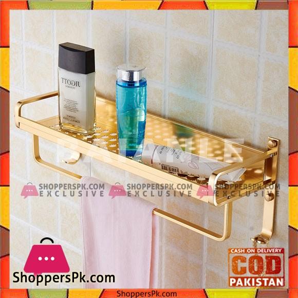 BAIANLE Gold Aluminum Modern Wall Mount Bathroom Accessories Shower Shelf Towel Rack Holder