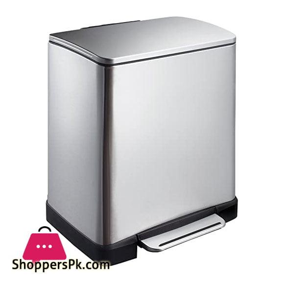 Eko E-cube 20 liter Slim Silver Steel Kitchen Step On Foot Pedal Waste Rubbish Dustbin