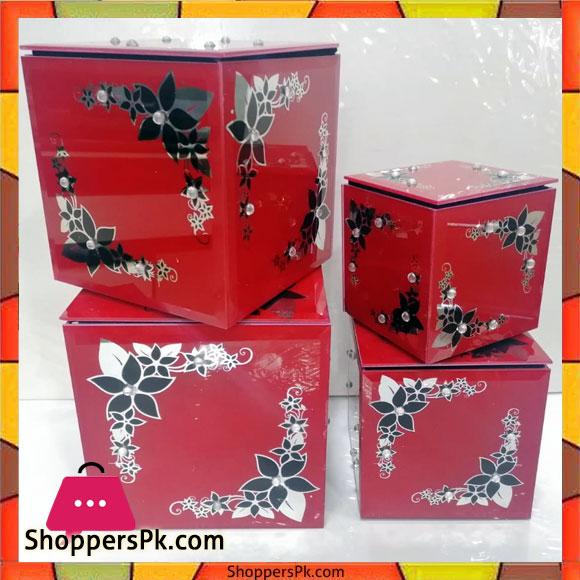 Glass Jewellery Box Set of 4