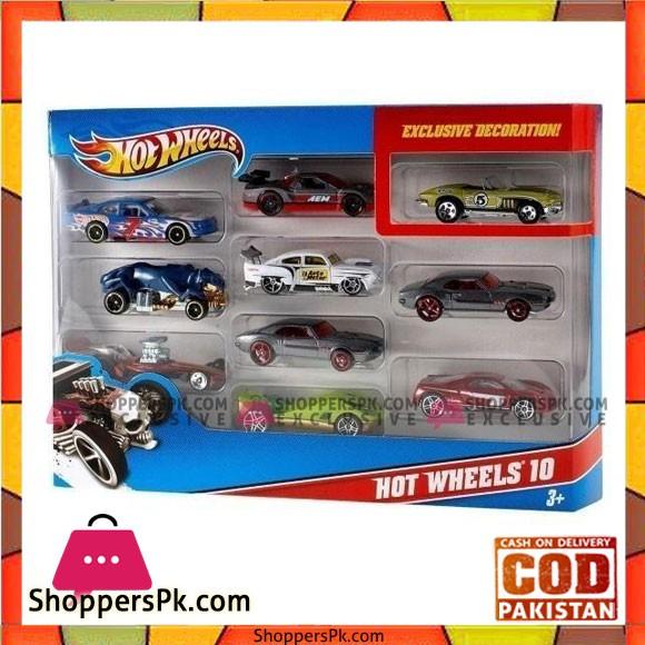 Hot Wheels Set of 10 Die Cast Cars Multicolours