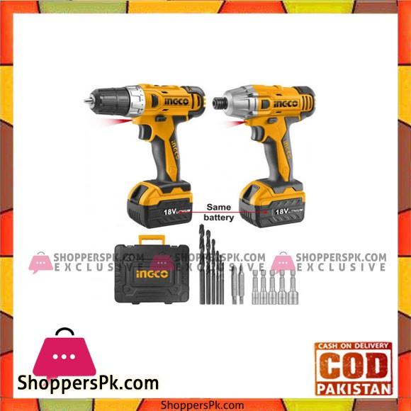 INGCO 18V set of dills and screwdrivers - CKLI18021