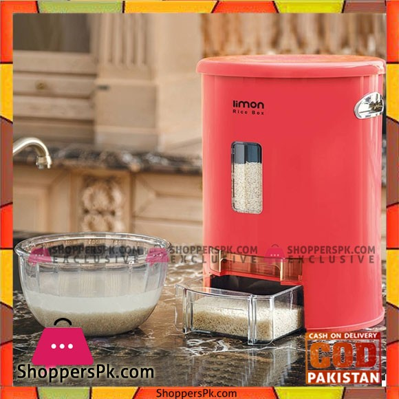 Limon Rice Box Dispenser with Cup Flour Container 10 - KG