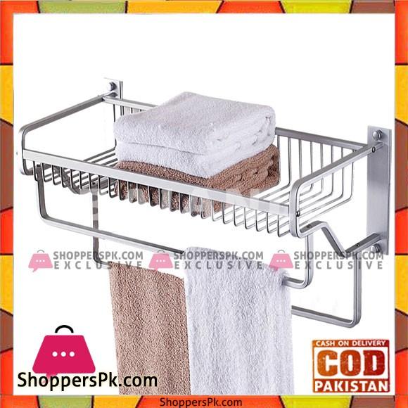 Modern Aluminum Wall Mount Bathroom Shower Shelf Towel Rack with two Towel Bars