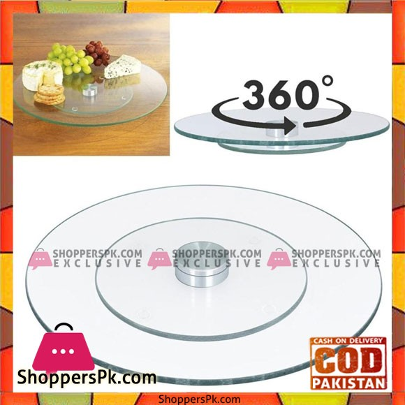 Tempered Glass Rotating Dessert Plate Cake Turntable - 18 Inch