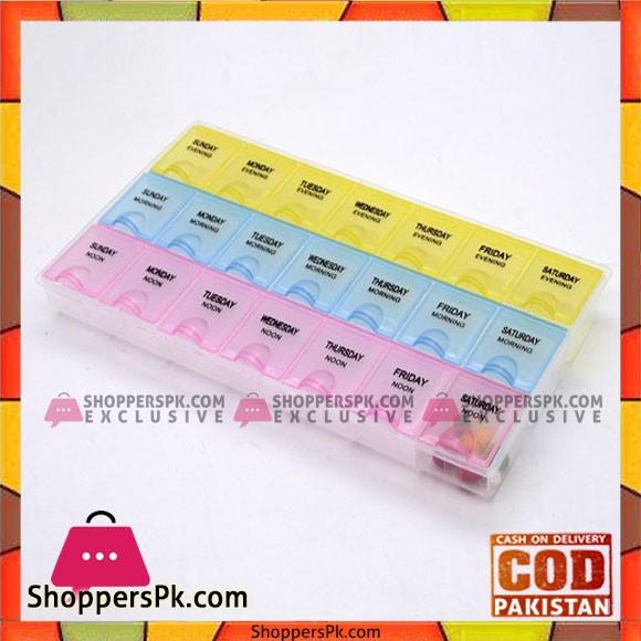 Travel plastic pill box organizer flat 3 week 21 compartments