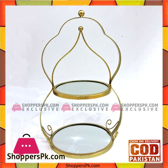 Wrought Iron Golden Two Tier Cupcake Stand Cake Stand