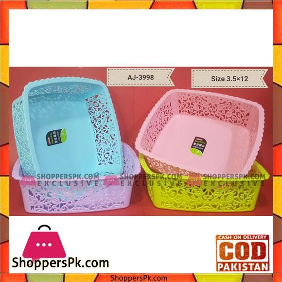 1 Pcs Plastic Fruit Basket Square 3.5 x 12 Inch