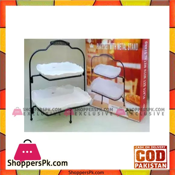 2 Tier Pastry Tray With Metal Stand