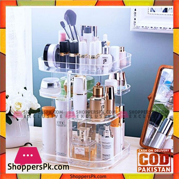 3-Tier Makeup Organizer 360 Degree Rotating Cosmetic Acrylic Storage Display Box