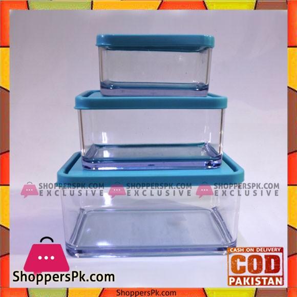 Beta 3pcs Aclayric Plastic Food Container Set