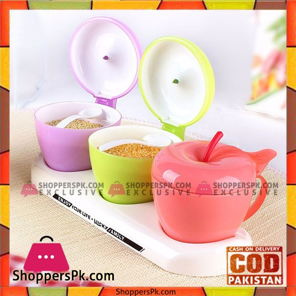 Cute Apple Shaped Spice Jar Plastic Seasoning Boxes