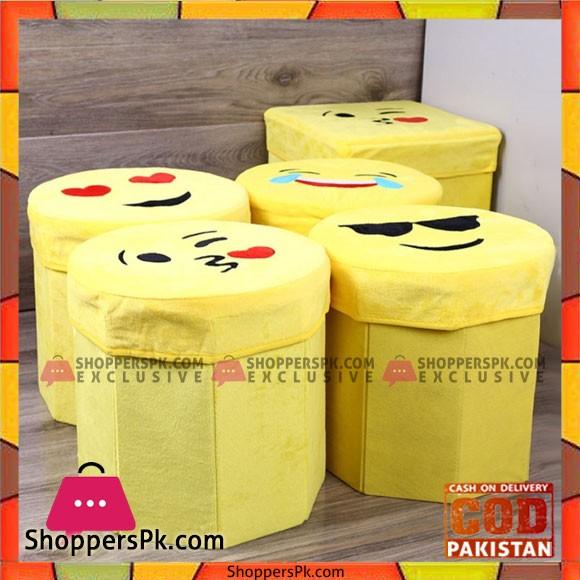 Emoji Baby Toy Storage Chest Foldable Organizer Box Ottoman Toddler Seat 1 Pcs