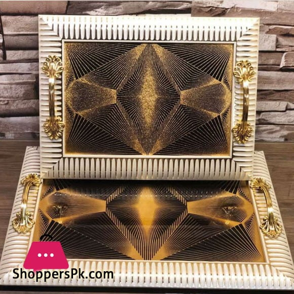 Fancy Leather Serving Tray Set of 2 Pcs