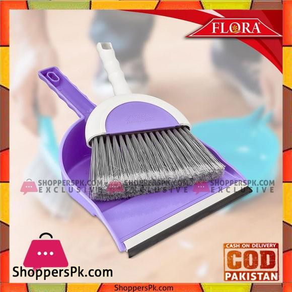 Flora Hand-Held Dust Pan With Broom Set