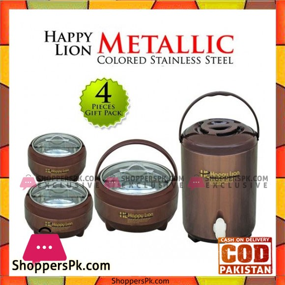 Happy Lion Metallic Vol-1 Colored Stainless Steel 4 Pcs Gift Set