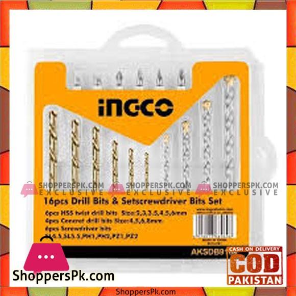 INGCO 16PCS Drill Bits & Screwdriver Bits Set - AKSDB9165