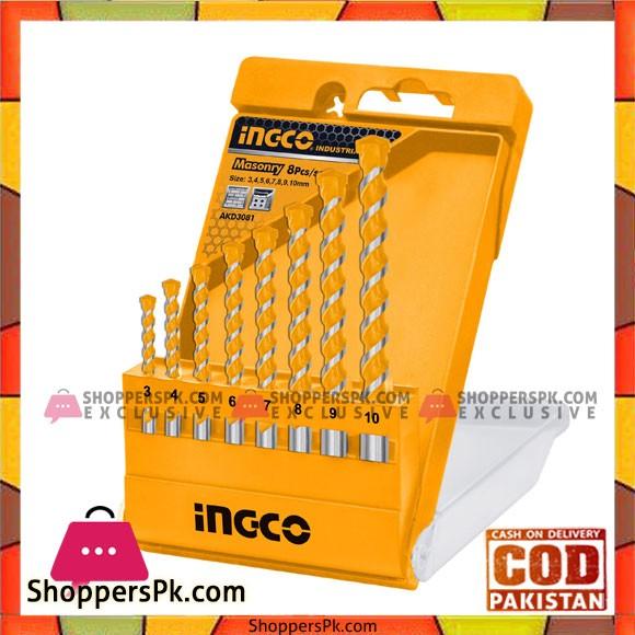 INGCO 8PCS Masonry Drill Bit Set - AKD3081