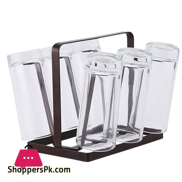 Kitchen Stand 6 Hook Organizer Drinkware Drying Shelf (Bronze) Glass Stand