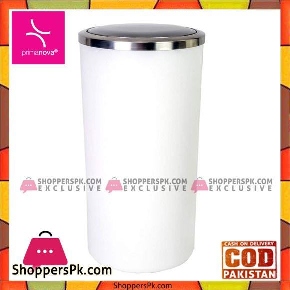 Primanova Lenox Dustbin With Swing Cap 35 Liter White Turkey Made M-E48-01