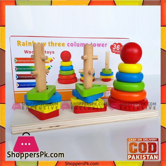 Rainbow Three Column Stacking Sorting Tower Wooden Toy Educational and Therapeutic Toy for Kids