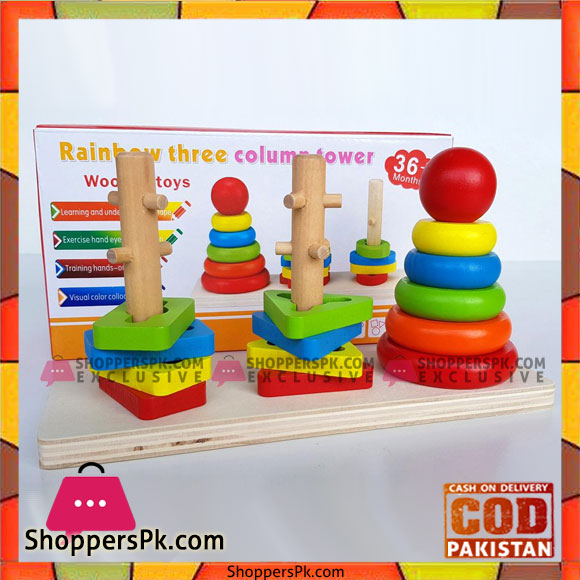 9fd36f3e2096 Rainbow Three Column Stacking Sorting Tower Wooden Toy Educational ...