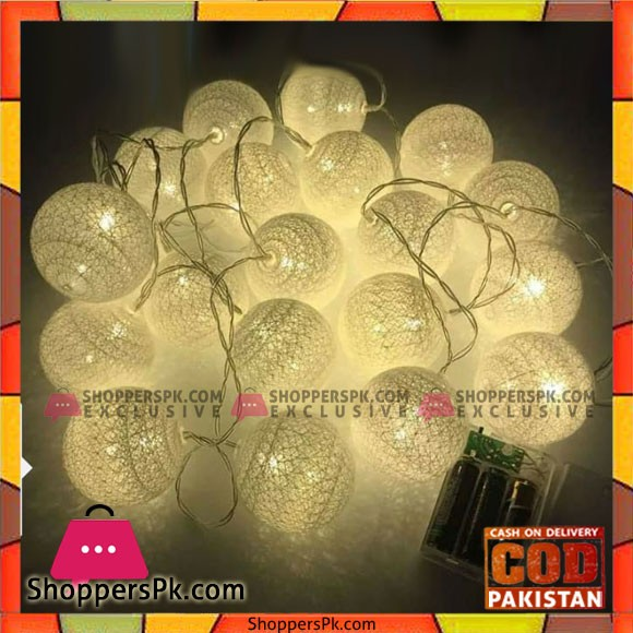 20 Pcs Lights 10 Feet Handmade Cotton Ball Light New Led String Fairy Rattan Ball Light Home Garden