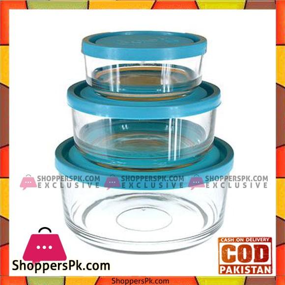3Pcs Air-Tight Glass Food Storage Bowl Set