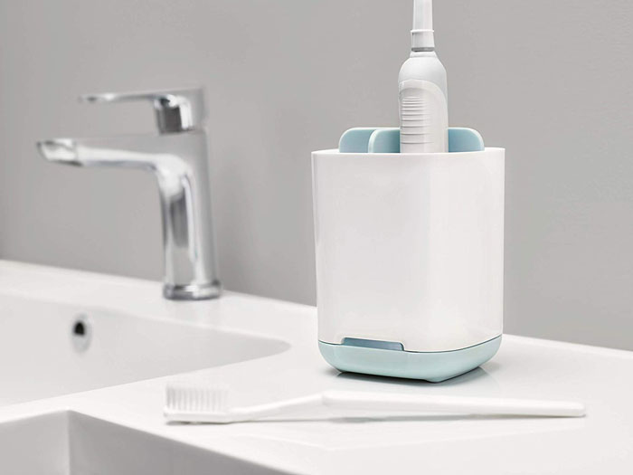 Bathroom Easy-Store Toothbrush Caddy, White Blue
