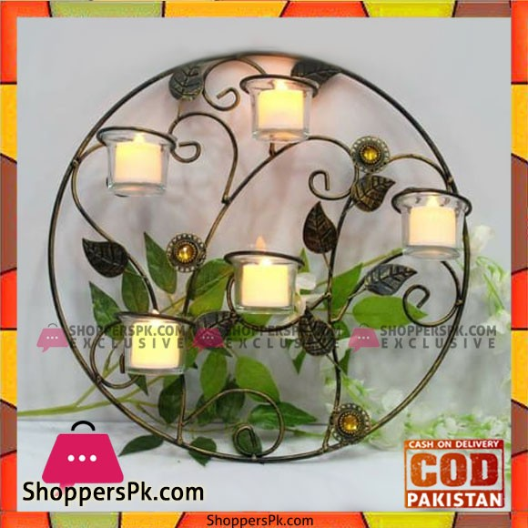 Home Decoration 5 Arm Candle Stand in Circle Design with Candles