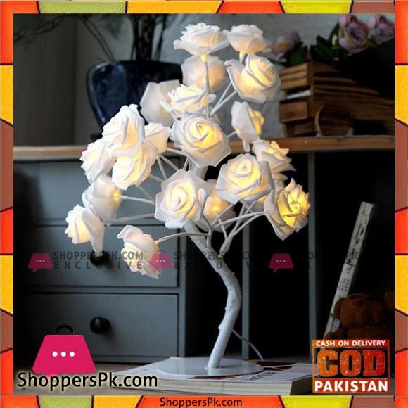 Romantic 3D Rose Flowers Tree Lamp Bedroom Desk Bookcase Night Light Home Bar Party Creative Decoration US/EU Plug