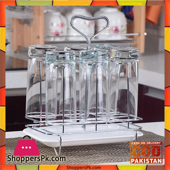 Stainless Steel Glass Cup Rack Water Mug Draining Drying Organizer Stand Tray