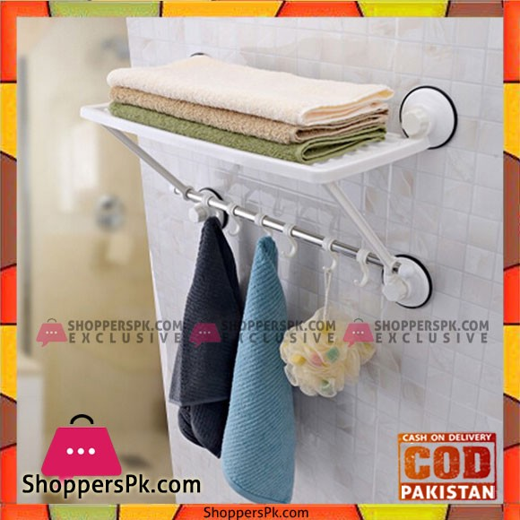 Wall Mounted Strong Bathroom Towel Shelf Stainless Steel With 6 Hooks