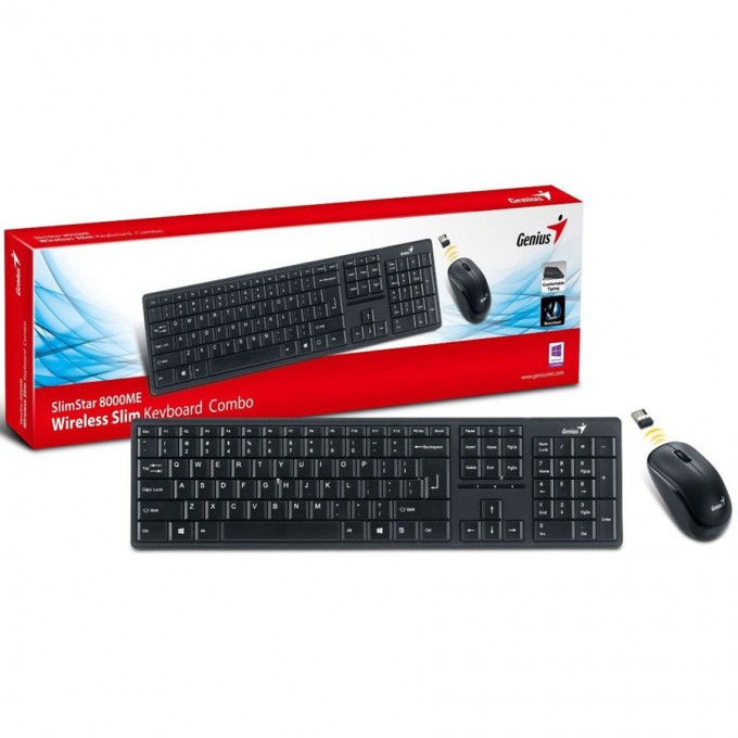 Genius SlimStar 8000ME 10m 2.4GHz Wireless Keyboard & Mouse Combo