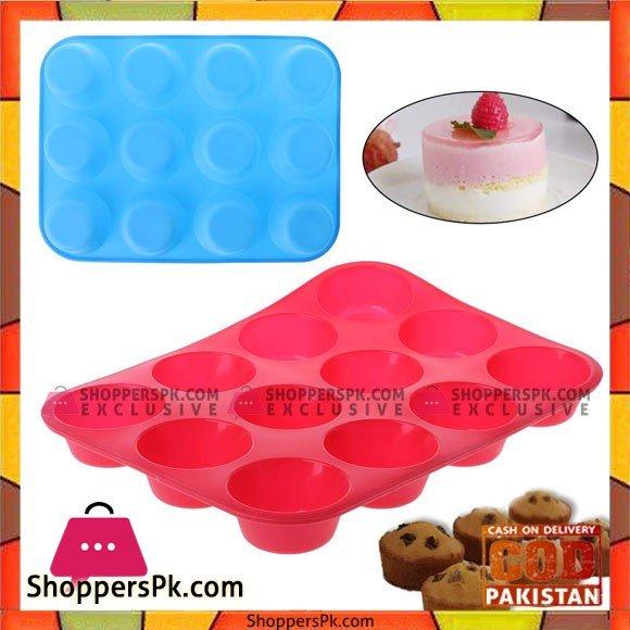 12 Cavity Silicone Cupcake Mold