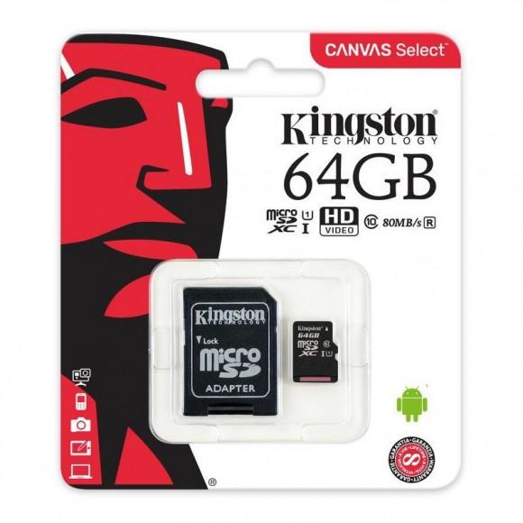 Kingston Canvas Select 64GB microSDXC Class 10 microSD Memory Card (SDCS/64GB)