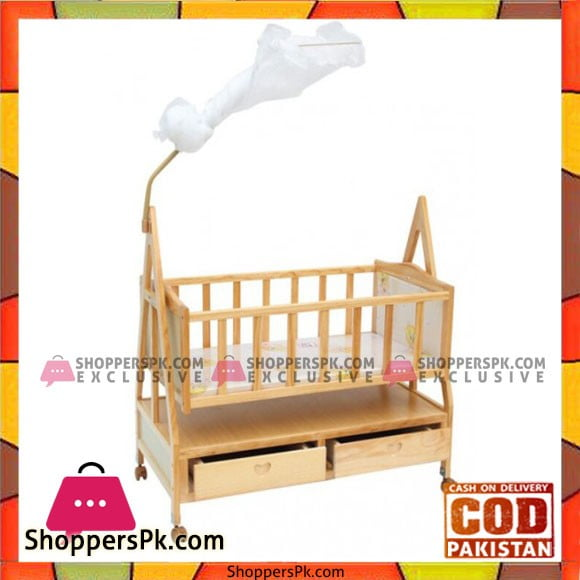 Baby World Wooden Cradle With Mosquito Net And Storage Drawwer