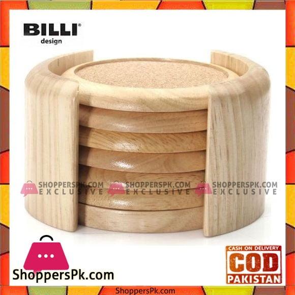 Billi 6Pcs Wooden Coaster with Holder Round - WA688