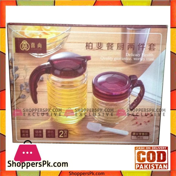 Condiment Set of 2 Pcs Glass, Plastic