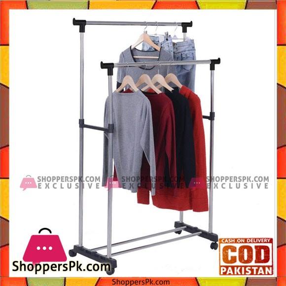 Double Clothing Rod Telescopic Clothes Hanger Rack - Black