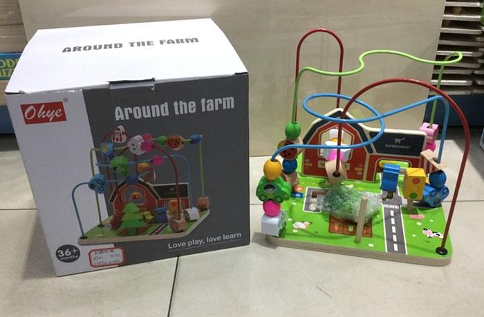 Educational Montessori Wooden Wire Maze Around Beads Farm