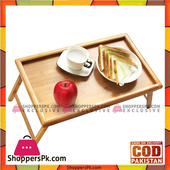 Natural Bamboo Bed Tray Table with Folding Legs Serving Breakfast in Bed Laptop Computer Tray