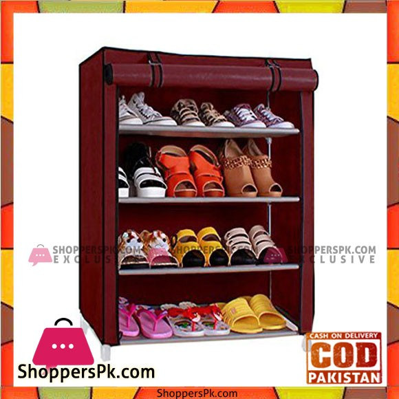 Pindia Shoe cabinet , 4- Layer Maroon Shoe Rack Organizer
