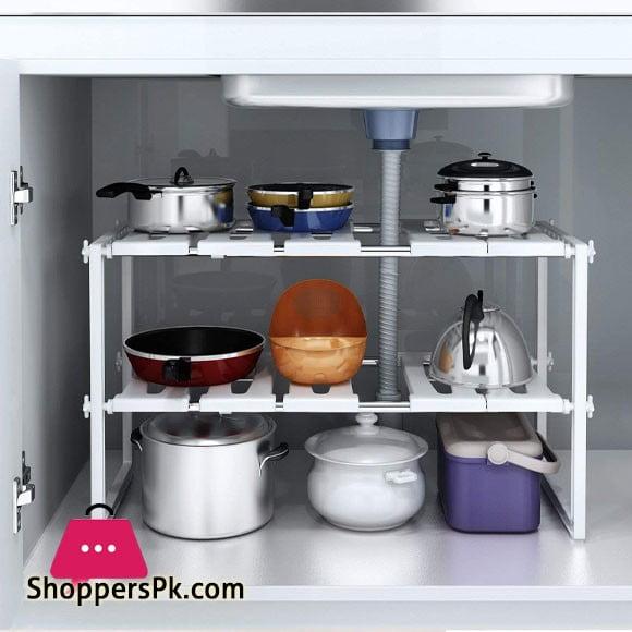Under Sink Shelf Extendable Storage Stainless Steel and pp Plastic Rack Adjustable Kitchen Organizer