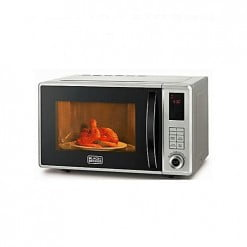 Black + Decker 23L Digital Microwave Oven with Grill MZ2310PG Silver